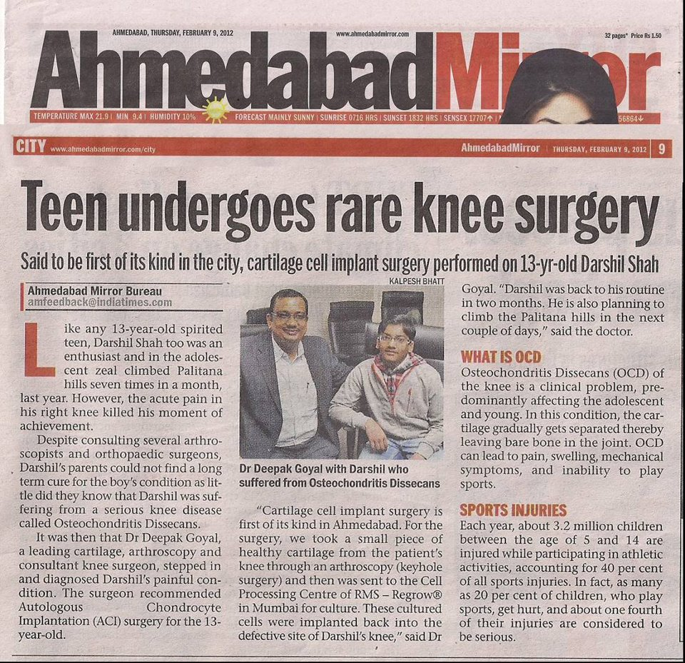 Ahmedabad Mirror 9Feb12 Dr Deepak Goyal
