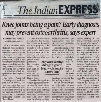 Indian Express 2006 Dr Deepak Goyal Cartilage Repair