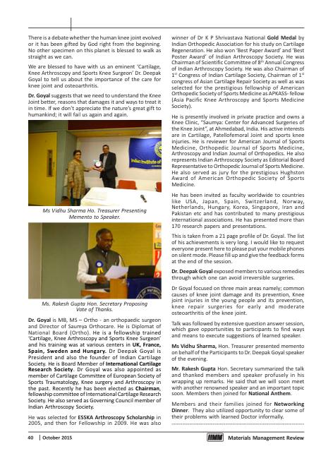 MMR Oct 15 page 40 Dr Deepak Goyal